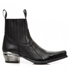 Black leather cowboy ankle boots for men with steel heel