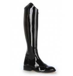 Made to measure black patent leather riding style boots