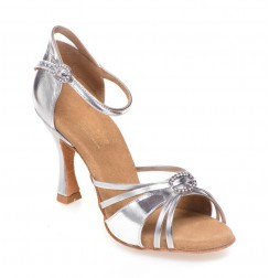 Elegant shiny silver leather dancing shoes