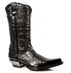 Black leather and silver snake cowboy boots for men