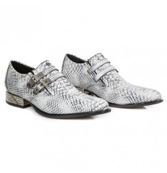 White snake shoes for men with steel heel
