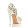 Beaded ivory bride shoes with stiletto heel