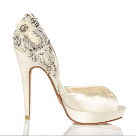 0b254fa7bf5 Original open toe bridal stilettos with platforms EXCLUSIVE SATIN ...