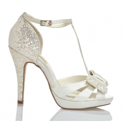 Elegant T-strap white satin bridal shoes