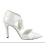 Elegant T-strap white satin bridal shoes