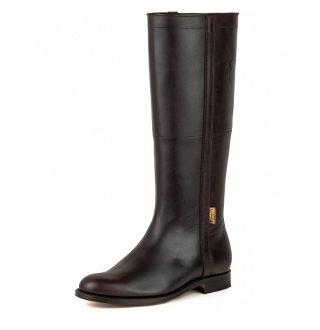 Traditional brown leather riding boots