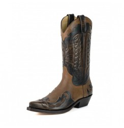 Elegant made-to-measure two-coloured leather Mexican cowboy boots