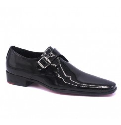 Black leather shoes for men with steel buckle