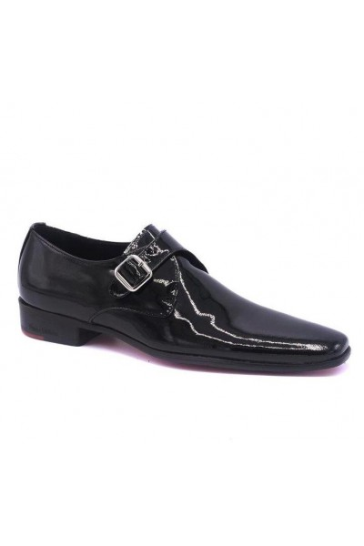 Black varnished leather shoes for men with and steel heel