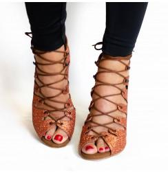 Glitter tan sandal style dance shoes