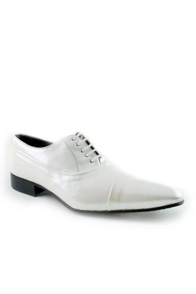 MENS SHOES FOR WEDDINGS Varnished white