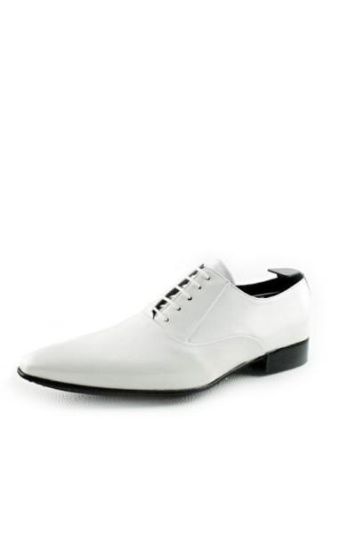 WEDDINGS MEN'S White leather wedding shoes