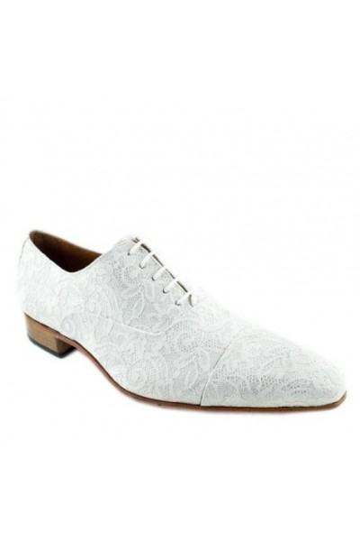 White lace formal shoes for men White