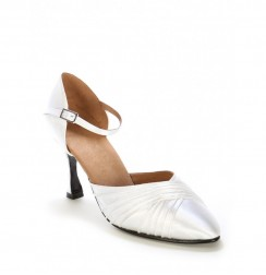 Classic white satin bridal shoes