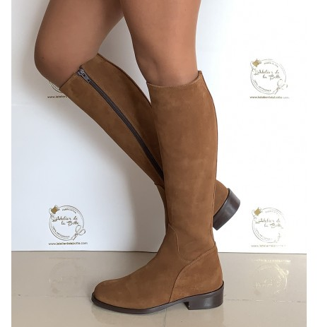 Suede camel riding style boots