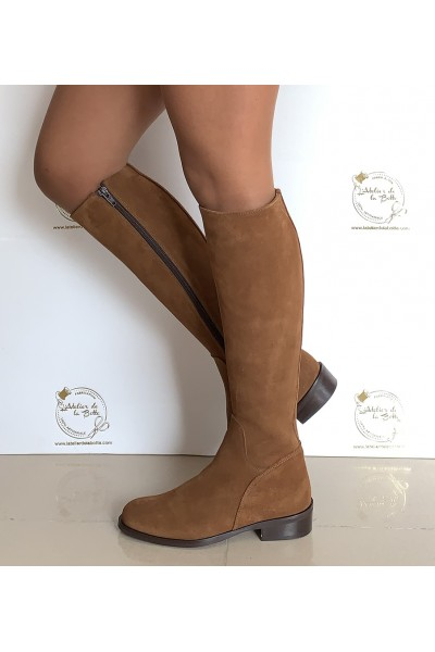 Suede camel riding boots