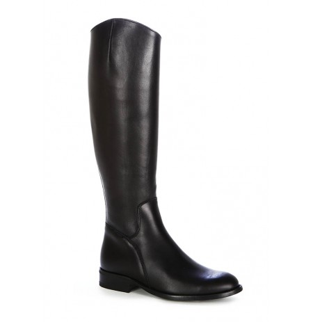 Black leather riding style boots for women