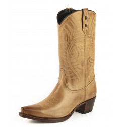 Beige leather cowboy boots