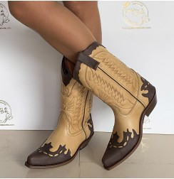 Camel and brown leather cowboy boots