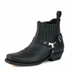 Black biker ankle boots for men