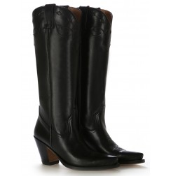 High leather cowboy boots for women