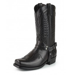 Black leather western biker boots