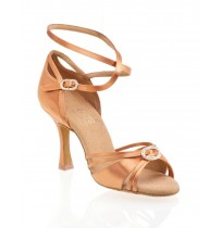 Elegant copper satin dancing shoes