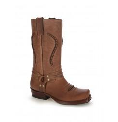 Beige leather western style biker boots