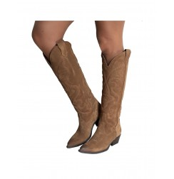 Camel suede cowboy high boots for women