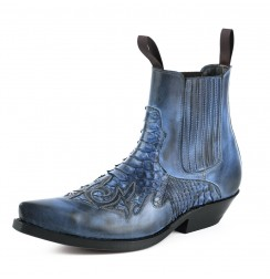 Blue snakeskin cowboy ankle boots for men