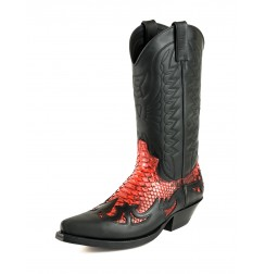 Black and red snakeskin cowboy boots unisex