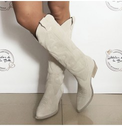 Light grey suede cowboy high boots for women