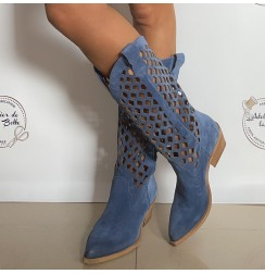 Denim blue suede cowboy boots for women.