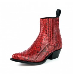 Ladies red snakeskin cowboy boots