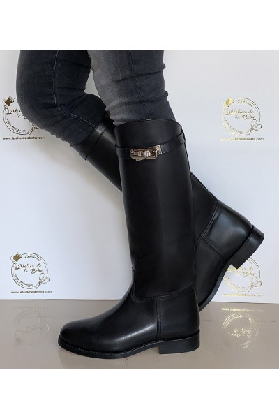 Black leather riding style boots with straps