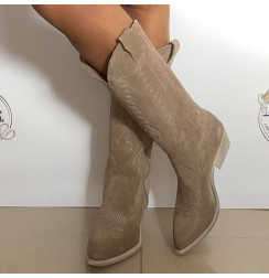 Ladies taupe suede leather cowboy boots