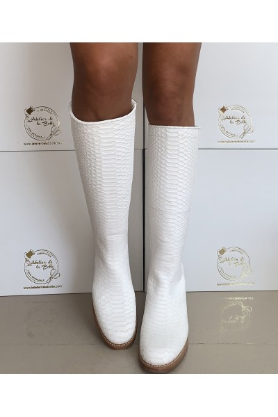 Ladies white leather riding style boots