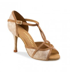 Beige snake effect leather and suede bridal shoes