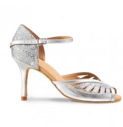 Ladies elegant silver leather wedding shoes