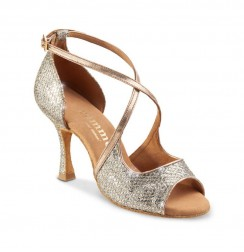 Rose gold leather wedding heels with snake effect