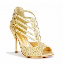 Sparkly golden leather bridal heels with straps