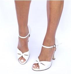 White leather comfort bridal heels