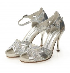 Silver glitter leather leather bridal heels with ankle straps