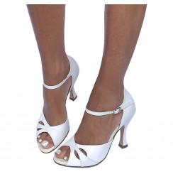 White patent leather bridal heels