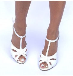 White leather comfortable bridal heels
