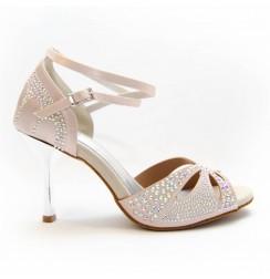 Nude satin rhinestone wedding shoes for women