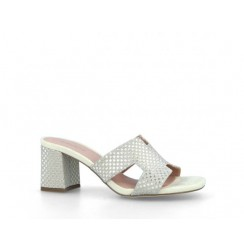 Shiny open toe heels for women with braided effect