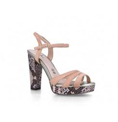 Leather snakeskin effect platform heels