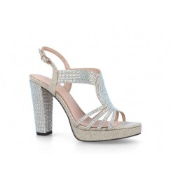 Silver diamond shoes for women with platforms