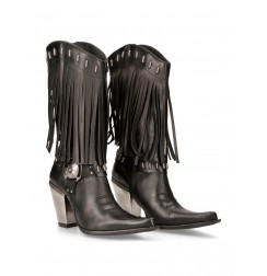 Ladies leather rock cowboy boots with fringes